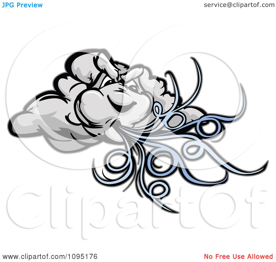 Clipart Storm Cloud Blowing Wind - Royalty Free Vector ...