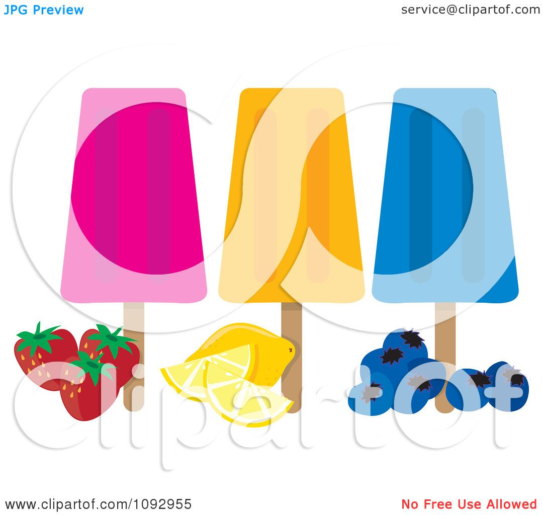 Clipart Strawberry Orange And Blueberry Ice Pops - Royalty Free Vector ...