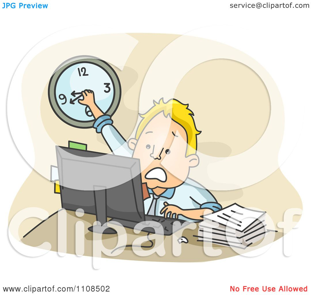 Clipart stressed businessman turning the clock back while for Free clipart no copyright