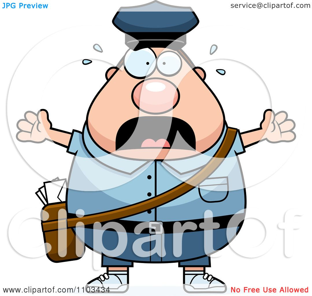 Clipart Stressed Chubby Caucasian Mail Man Postal Worker