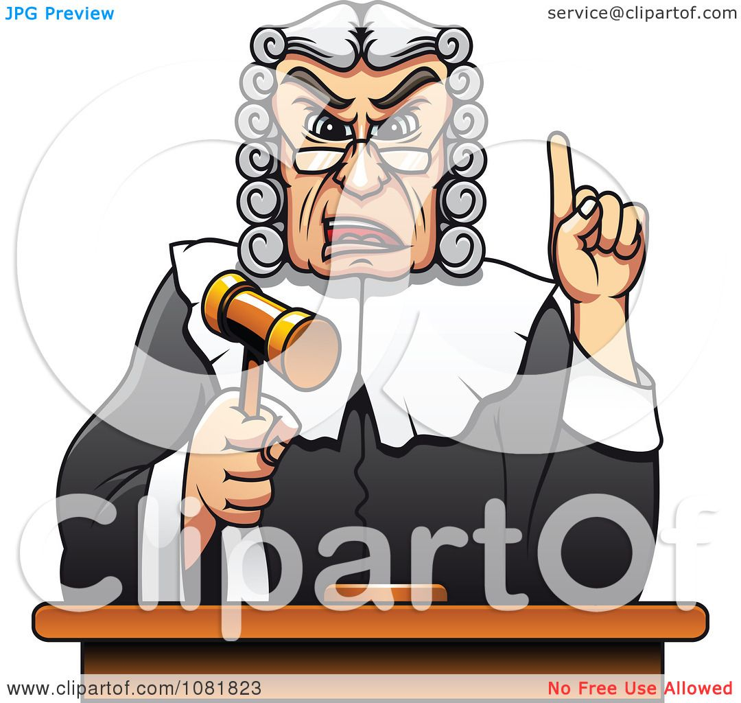 Clipart Strict Judge Holding Up A Gavel And Finger ...