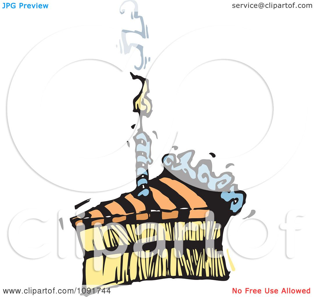 Clipart Striped Birthday Cake Slice With A Smoking Candle