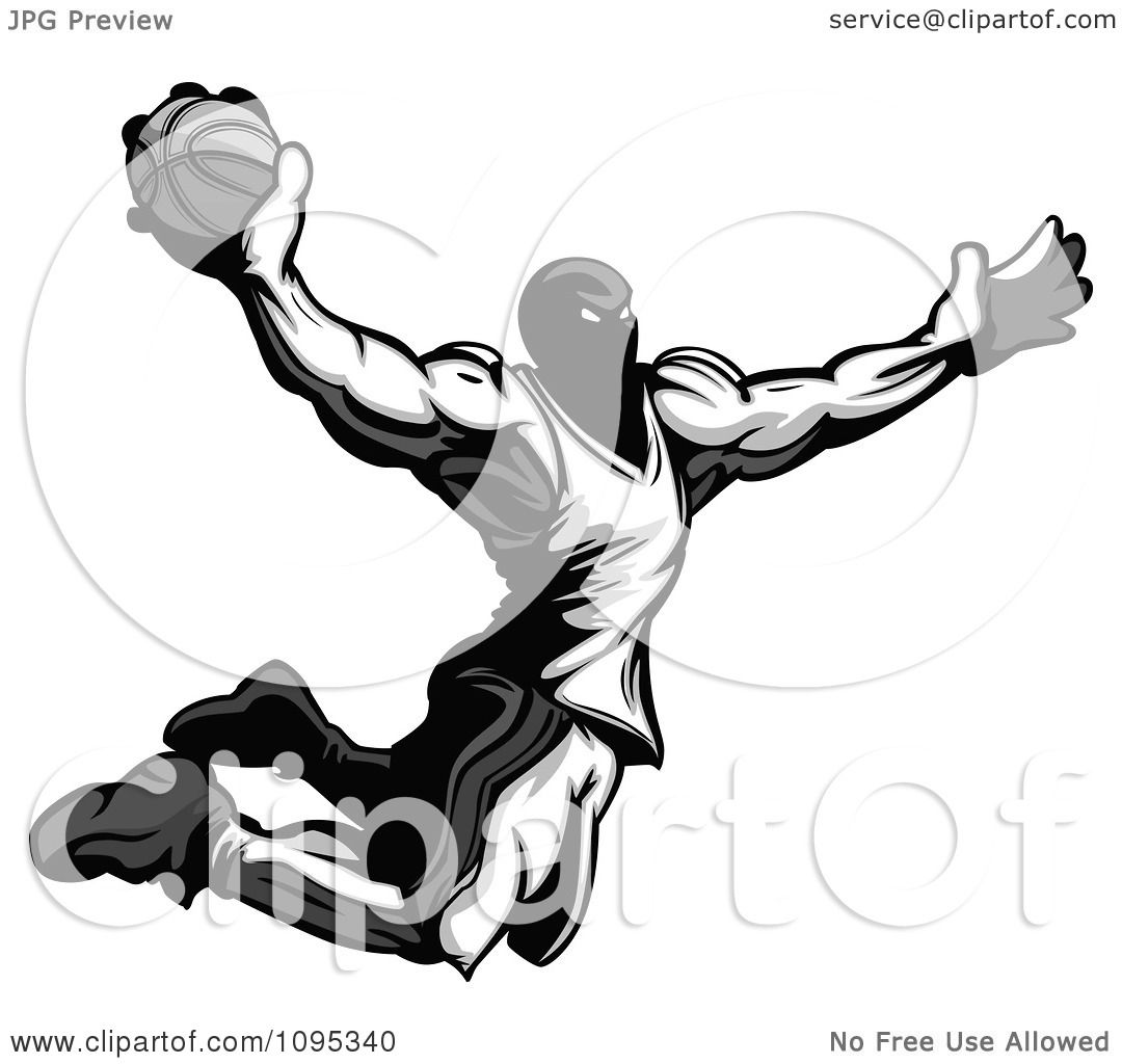 Clipart Strong Grayscale Basketball Player Catching Air To