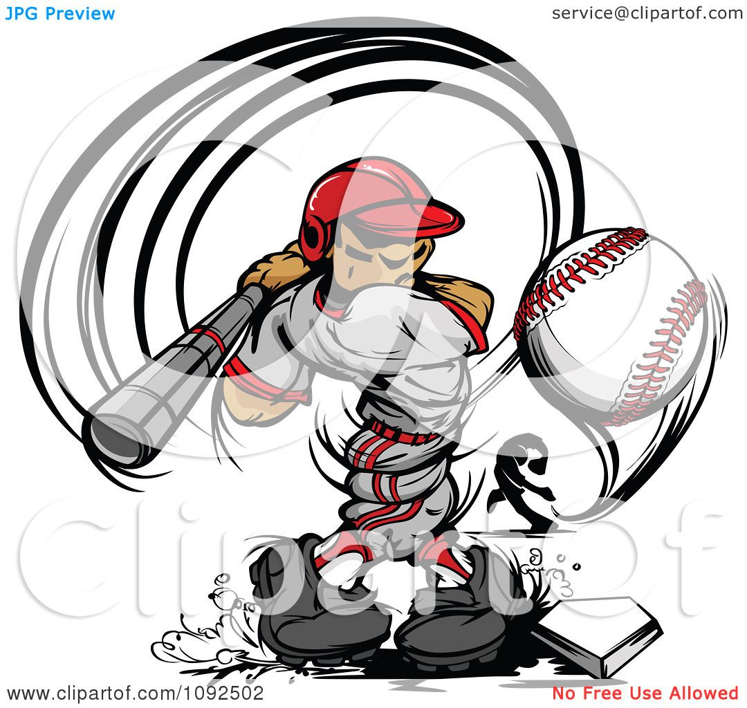 Clipart Strong Male Baseball Player Swinging And Hitting