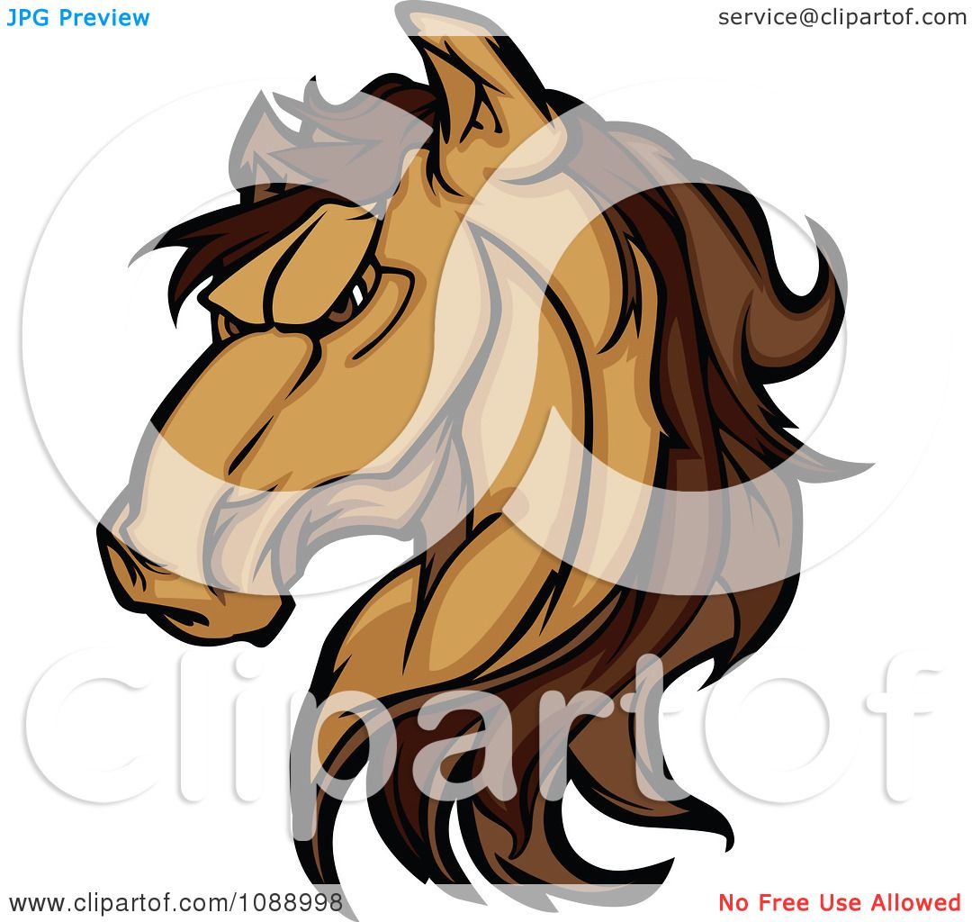 Clipart Strong Mustang Horse Head Mascot - Royalty Free ...