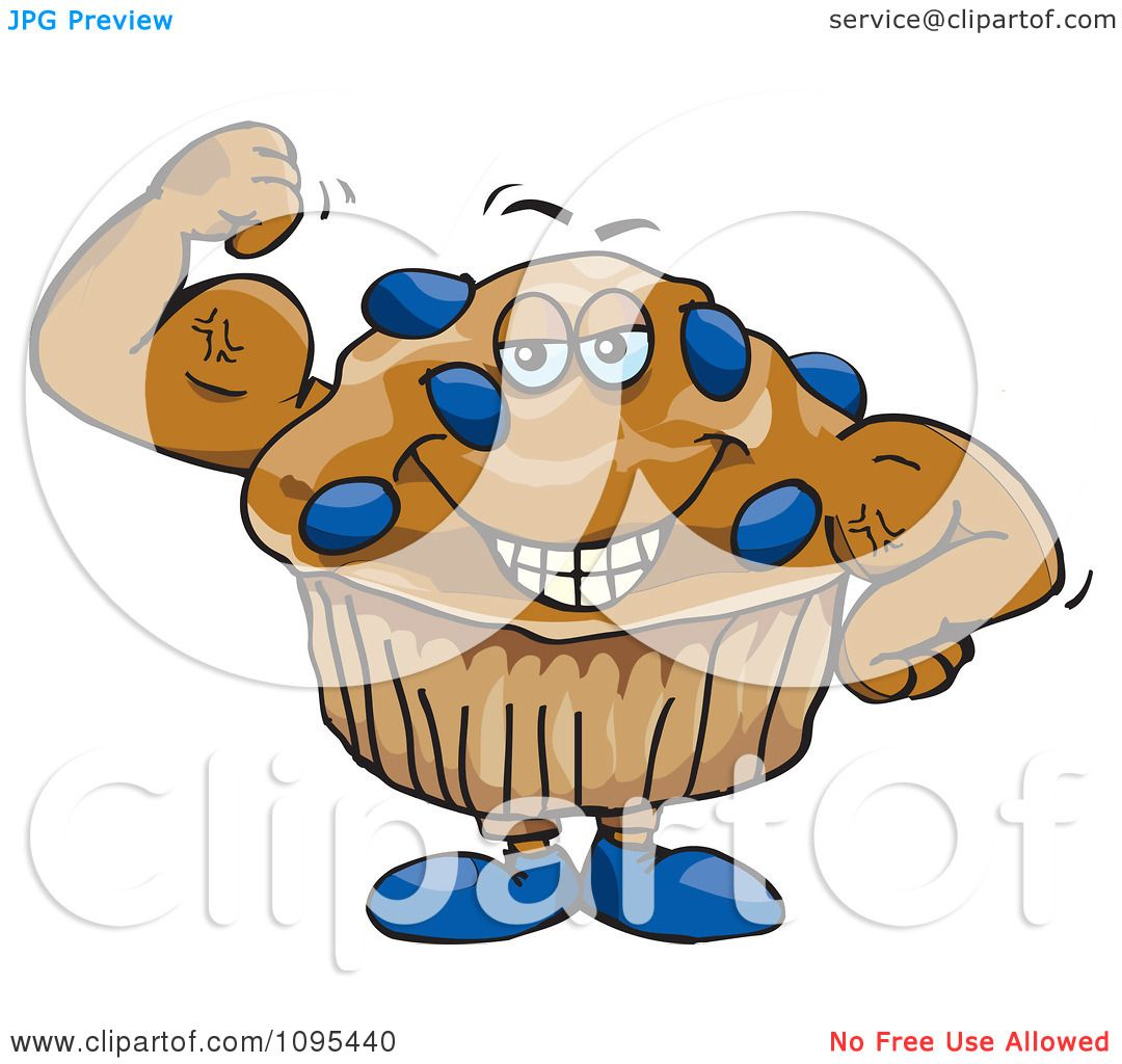 Clipart Strong Protein Blueberry Stud Muffin Flexing Its Muscles ...