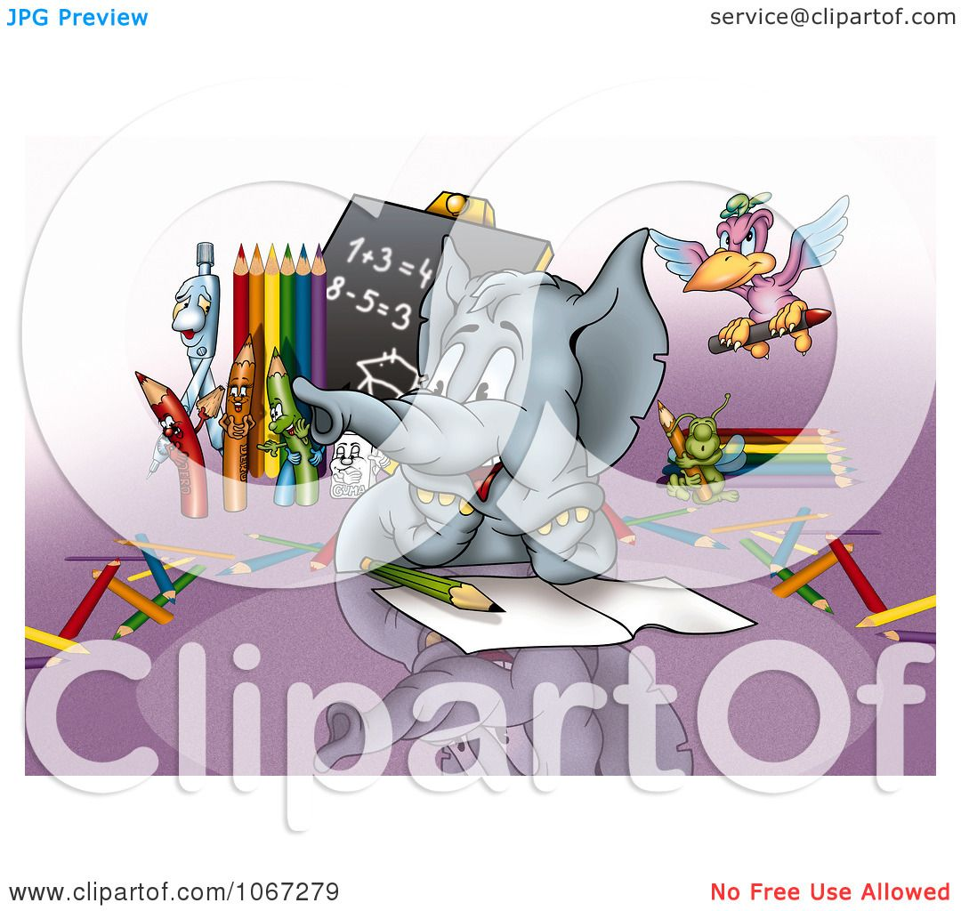 Clipart Student Elephant In Math Class - Royalty Free Illustration ...