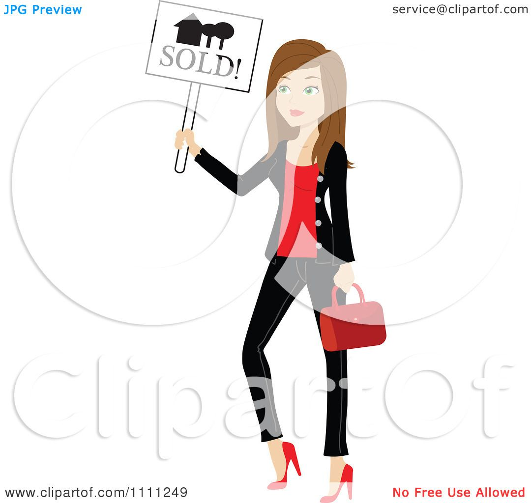 Clipart stylish brunette real estate agent holding a sold for Clipart estate