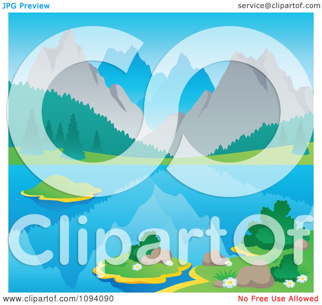 Clipart Summer Mountain Landscape With A Still Lake