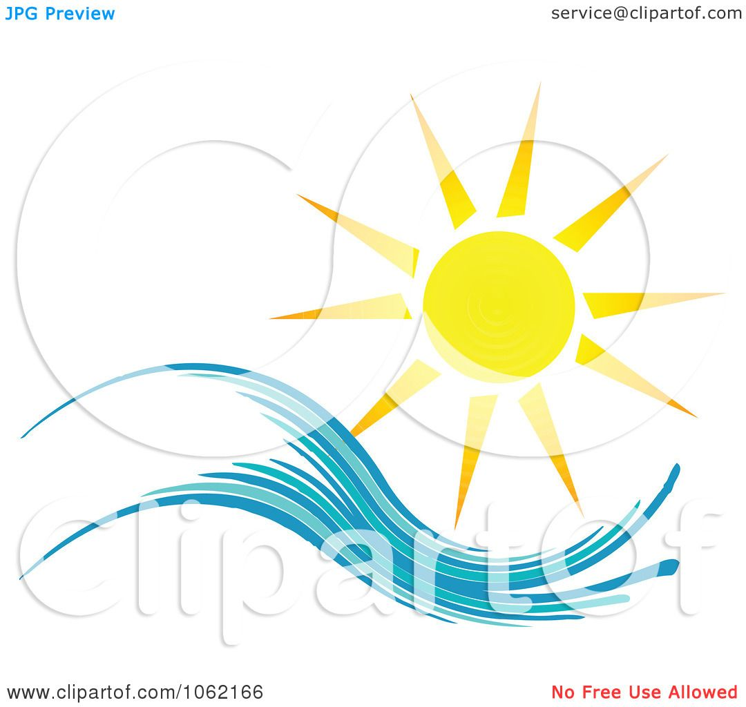 Clipart Summer Sun And Ocean Wave 1 - Royalty Free Vector ...