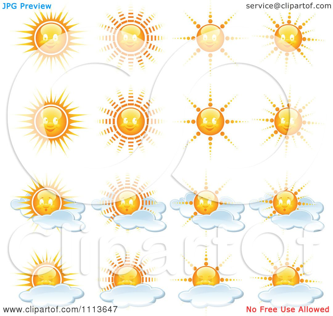 Partly Sunny Weather Clip Art Clipart sun and weather icons