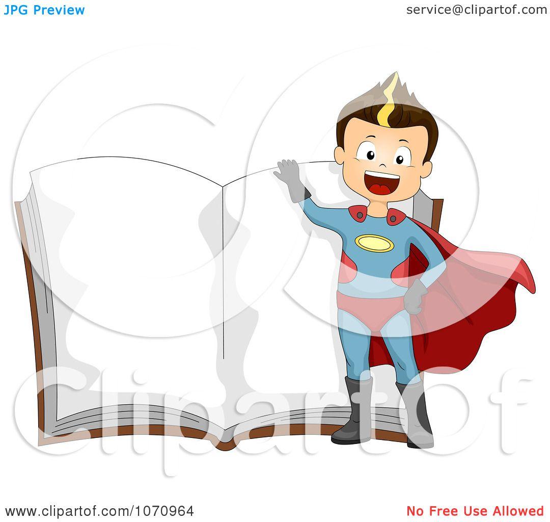 Clipart Super Hero Boy Over An