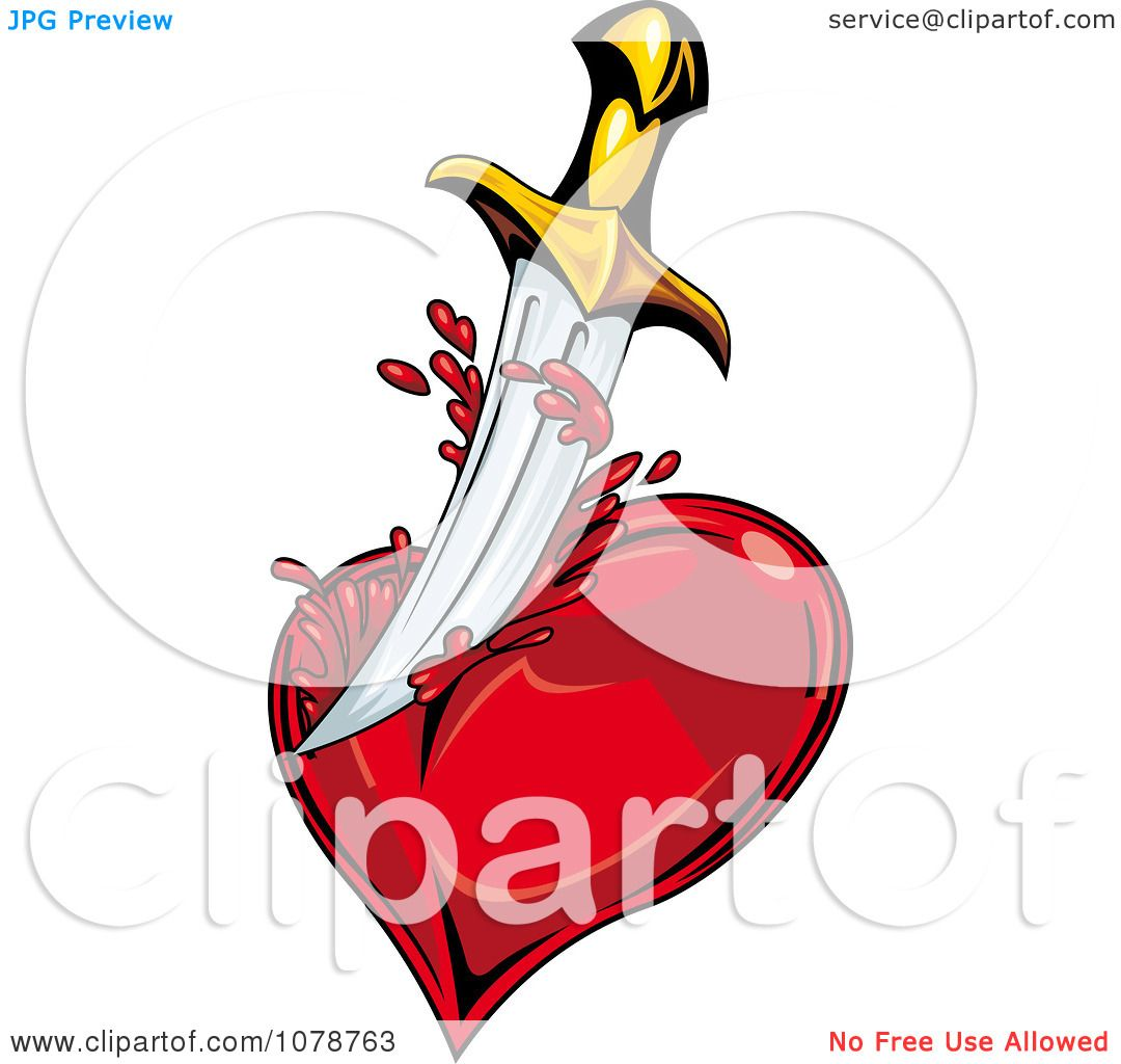 Clipart Sword Slicing A Bleeding Heart - Royalty Free Vector ...
