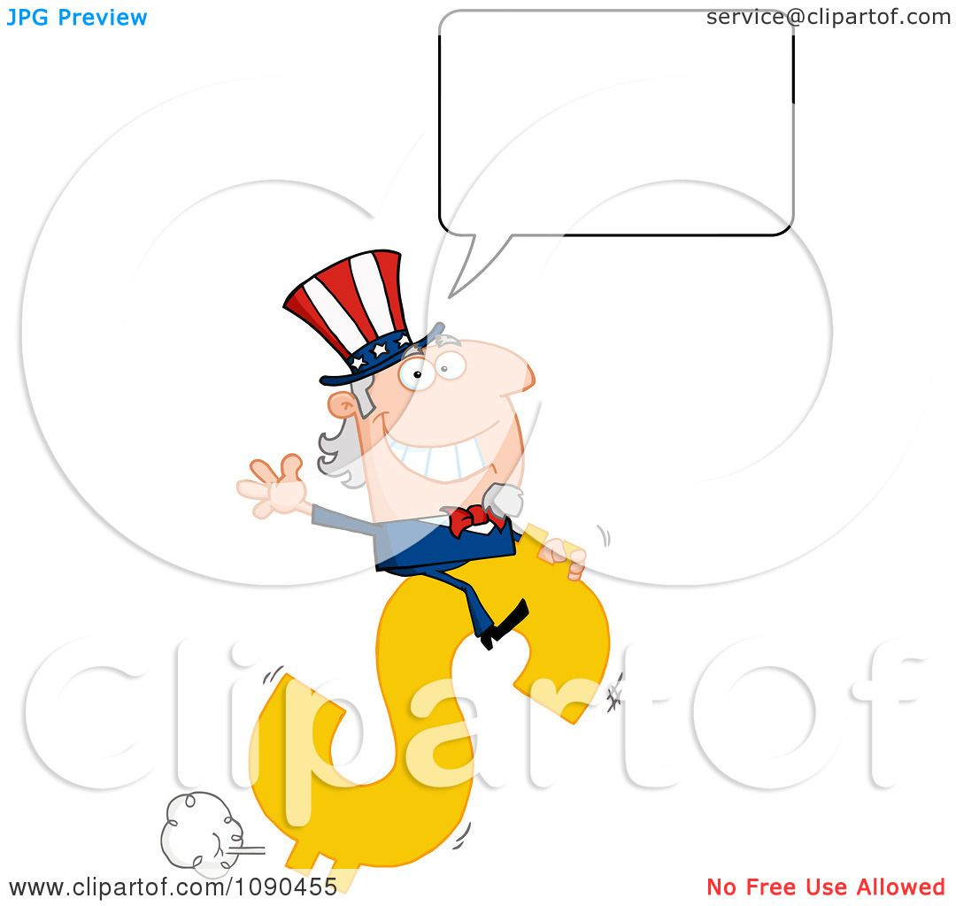 Clipart Talking Uncle Sam Riding A Dollar Symbol - Royalty ...