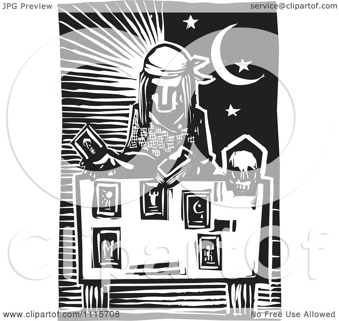 Clipart Tarot Card Reader And Sun And Moon Black And White Woodcut ...
