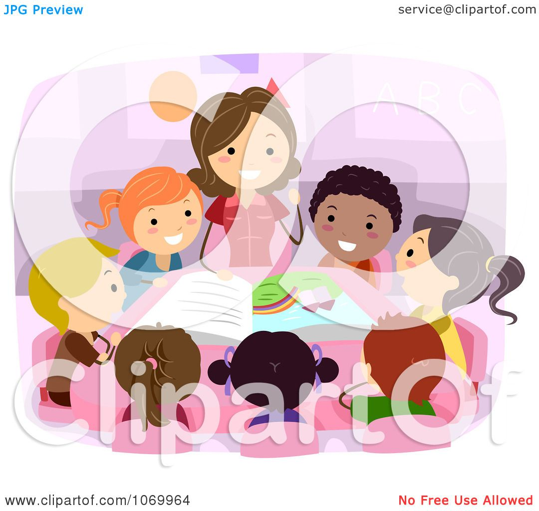 Clipart Teacher Reading To Diverse Stick Students ...