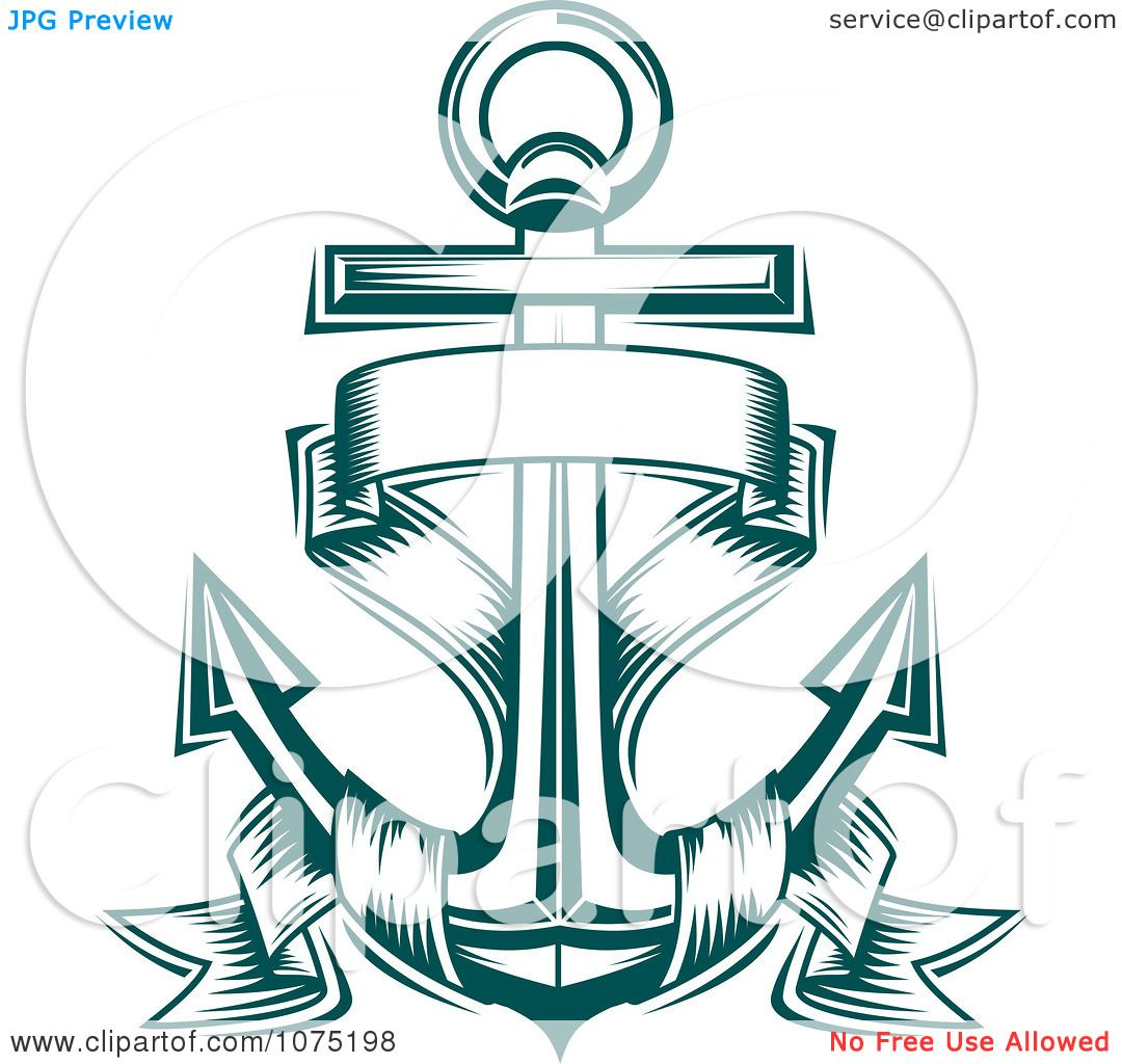 Clipart Teal Nautical Anchor And Banner Logo - Royalty ...