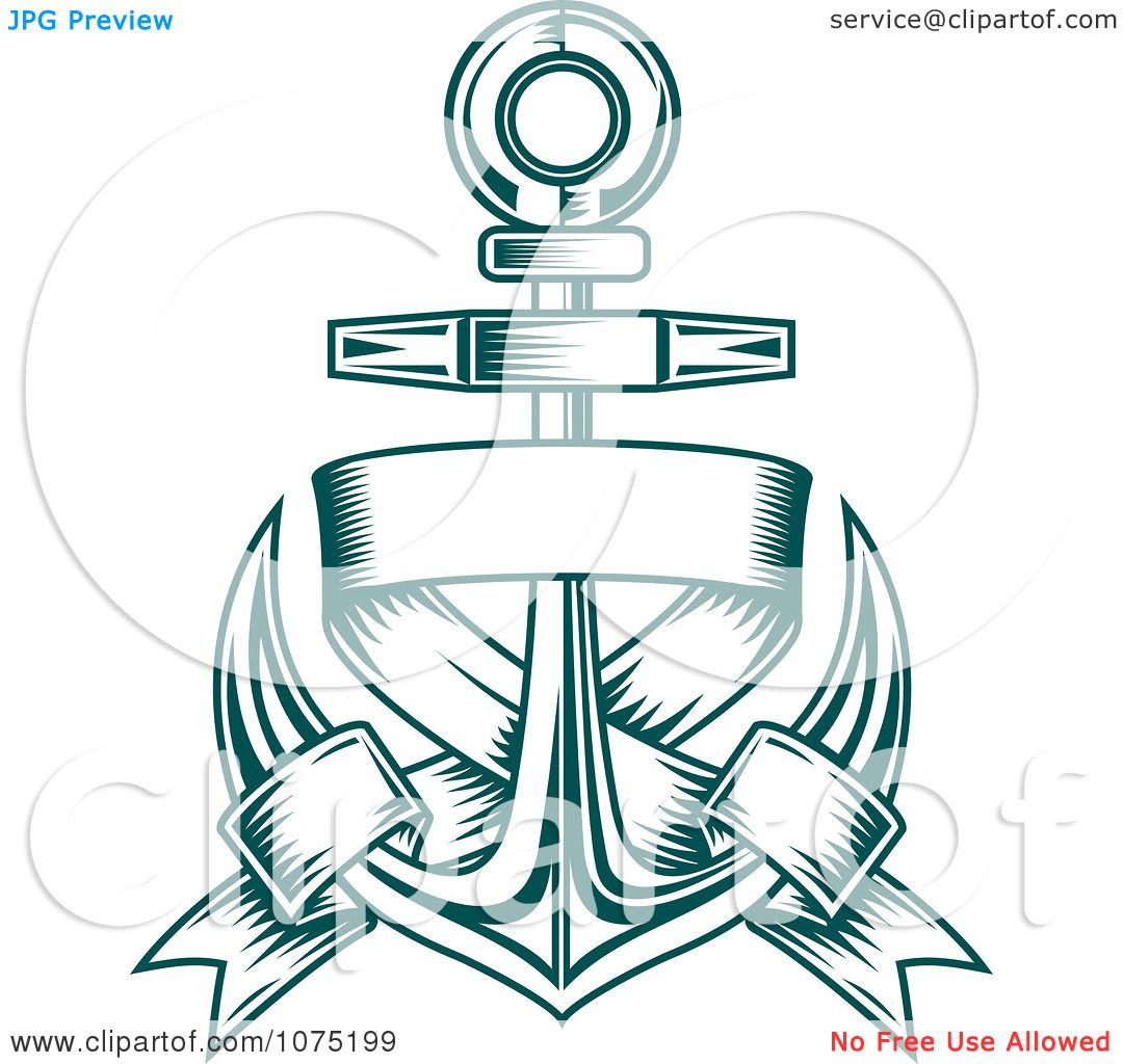 Clipart Teal Nautical Anchor And Blank Banner Logo