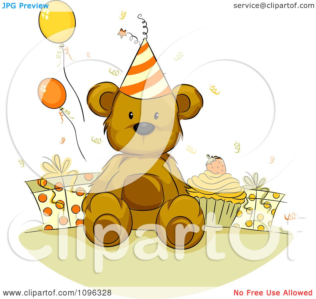 Clipart Teddy Bear With A Birthday Cupcake Presents And