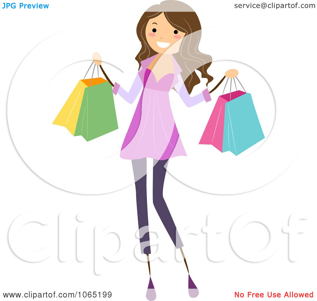 Clipart Teen Girl Carrying Shopping Bags - Royalty Free ...