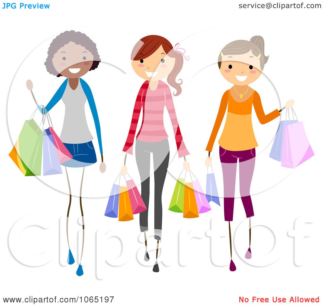 clipart teen girls carrying shopping bags royalty free vector illustration by bnp design studio