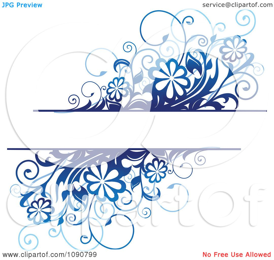 clipart text box with blue daisy flowers and vines