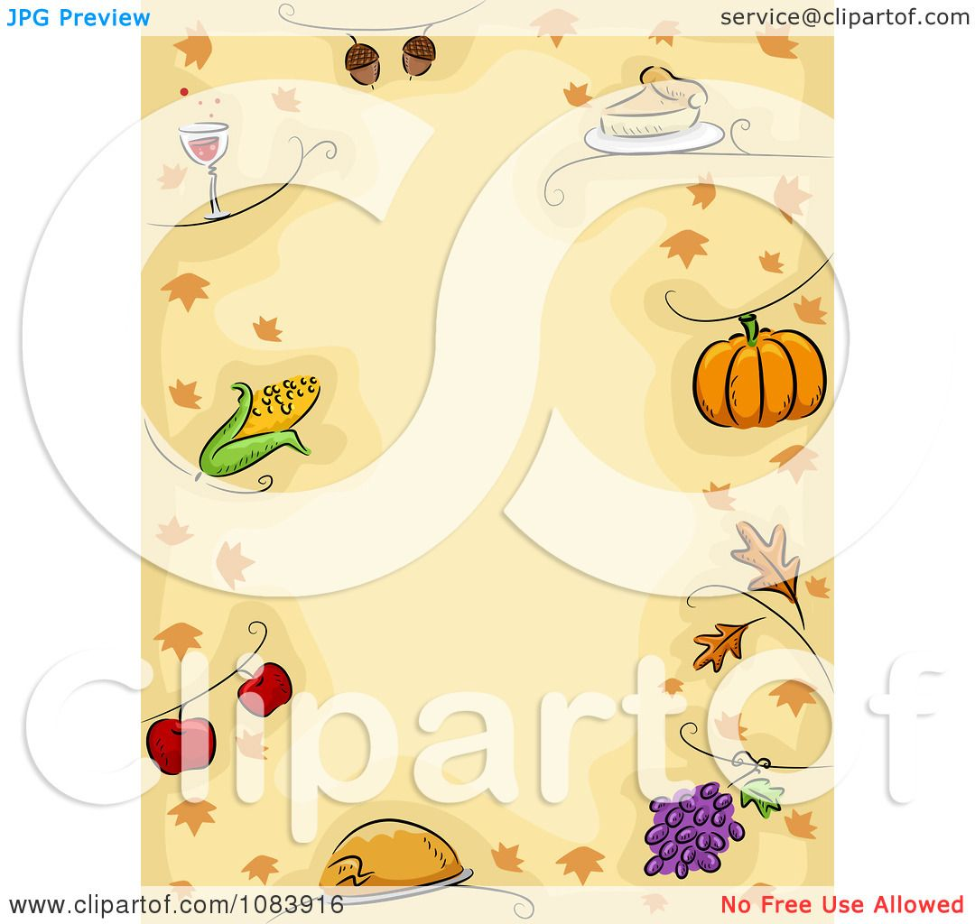 Clipart Thanksgiving Background With A Border Of Food And Leaves ...