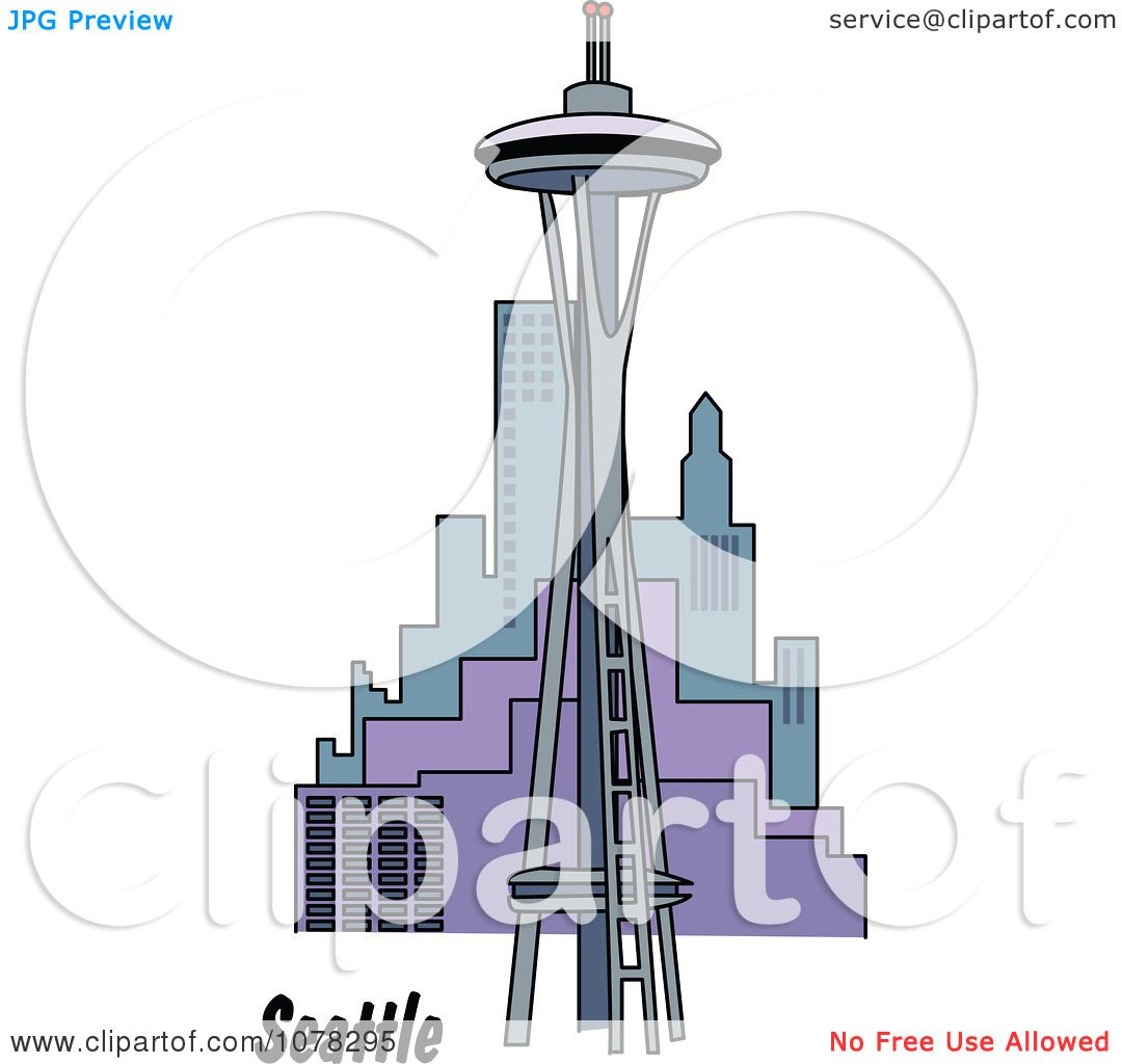 Clipart The Space Needle And Seattle Washington Skyline