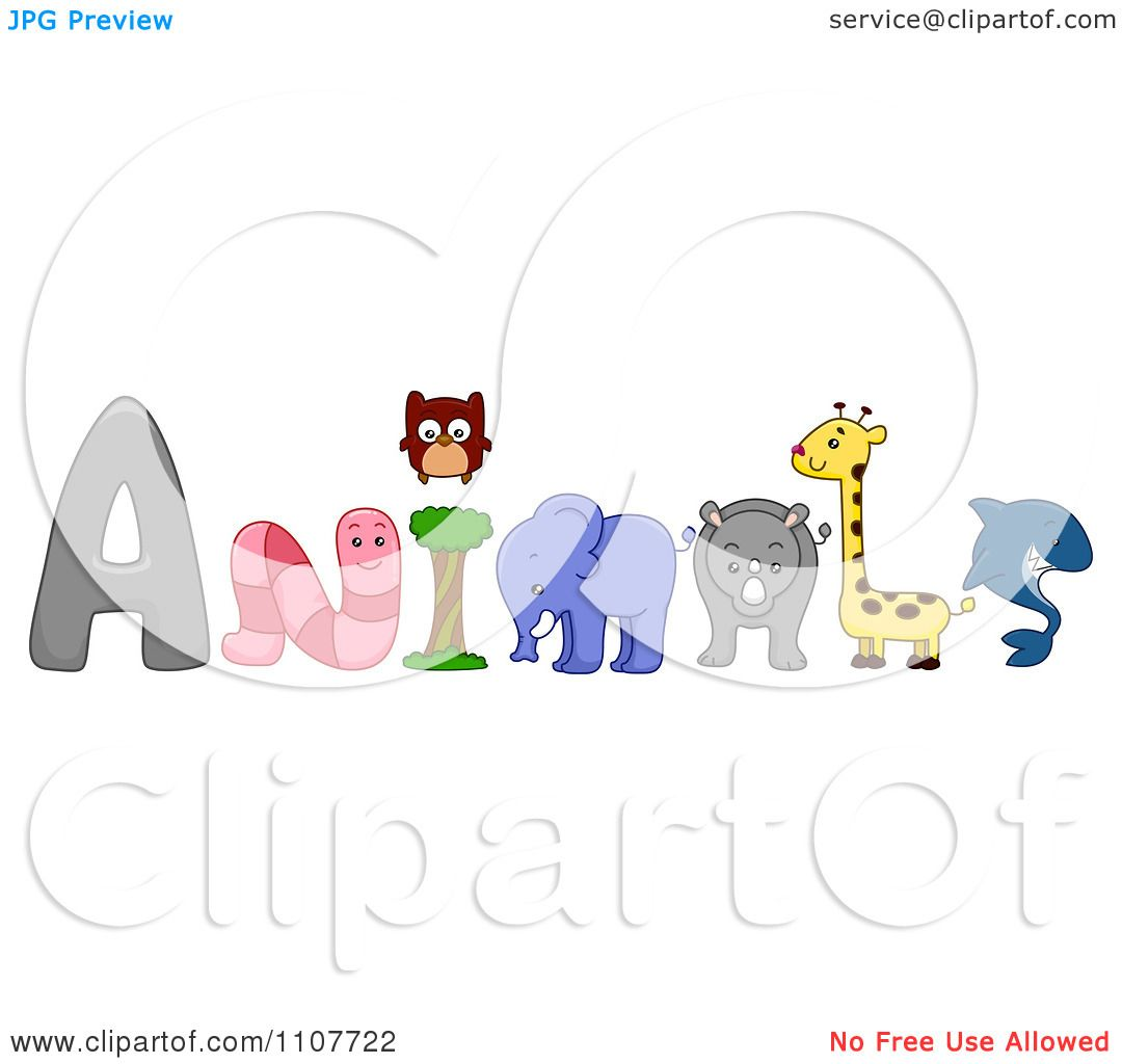 Clipart the word animals with a worm owl elephant rhino for Clipart words