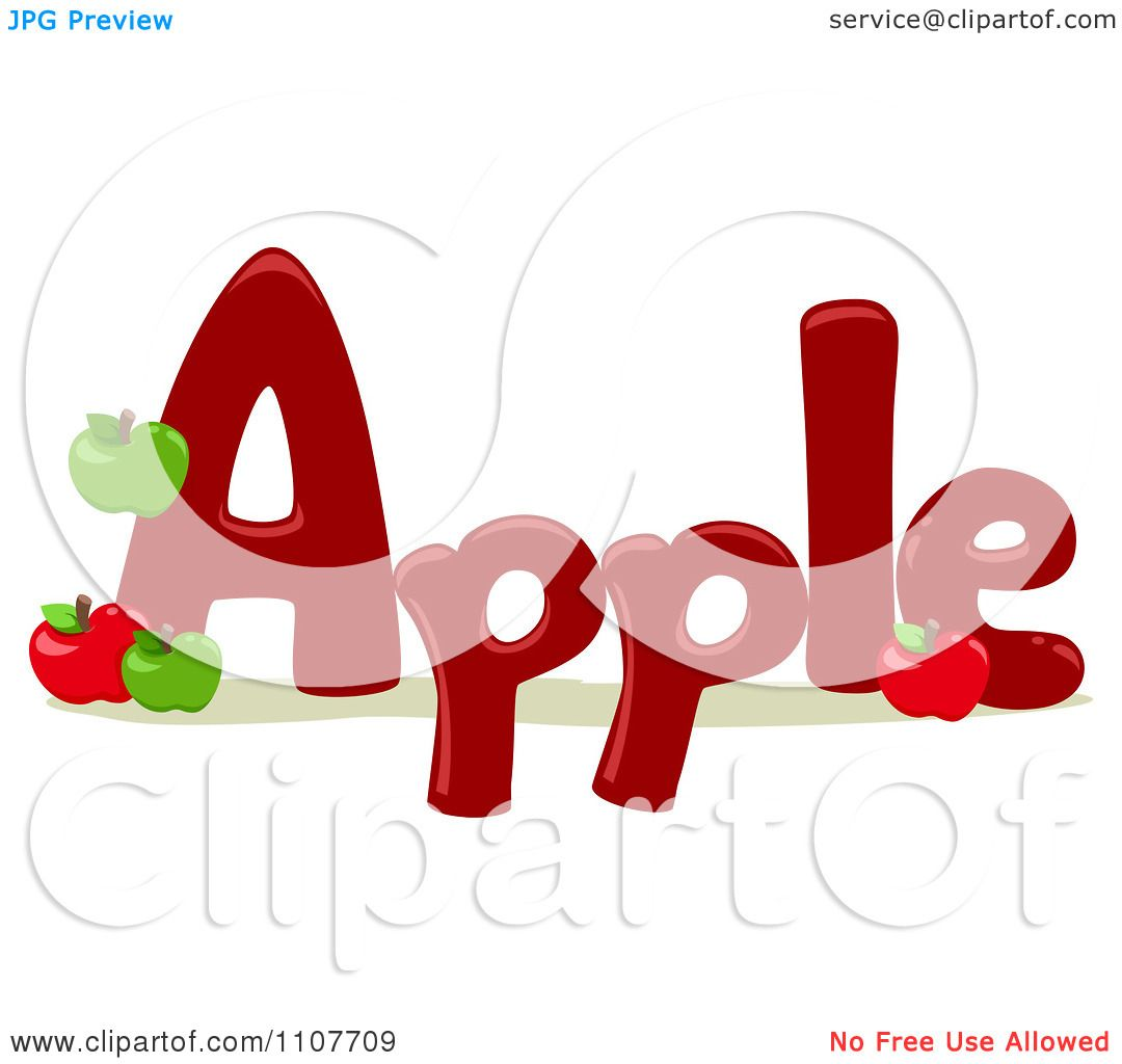 Clipart the word apple for letter a royalty free vector for Clipart words