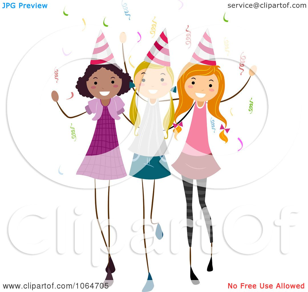 clipart three birthday party girls royalty free vector rh clipartof com birthday girl clip art 11 birthday girl clip art free