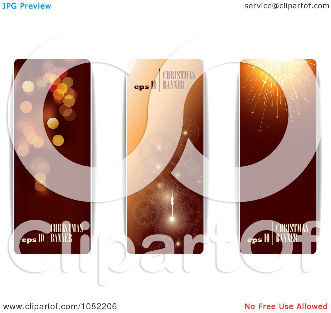 clipart three brown vertical christmas and new year banners with sample text royalty free vector illustration by eugene