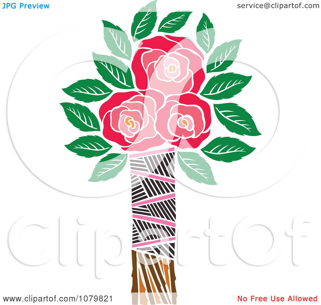 Clipart Three Red Roses In A Tribal Vase - Royalty Free Vector Illustration by Cherie Reve #1079821
