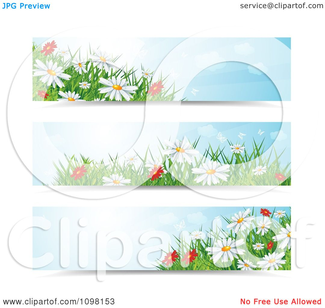 Clipart Three Spring Time Daisy Flower Website Banners ...