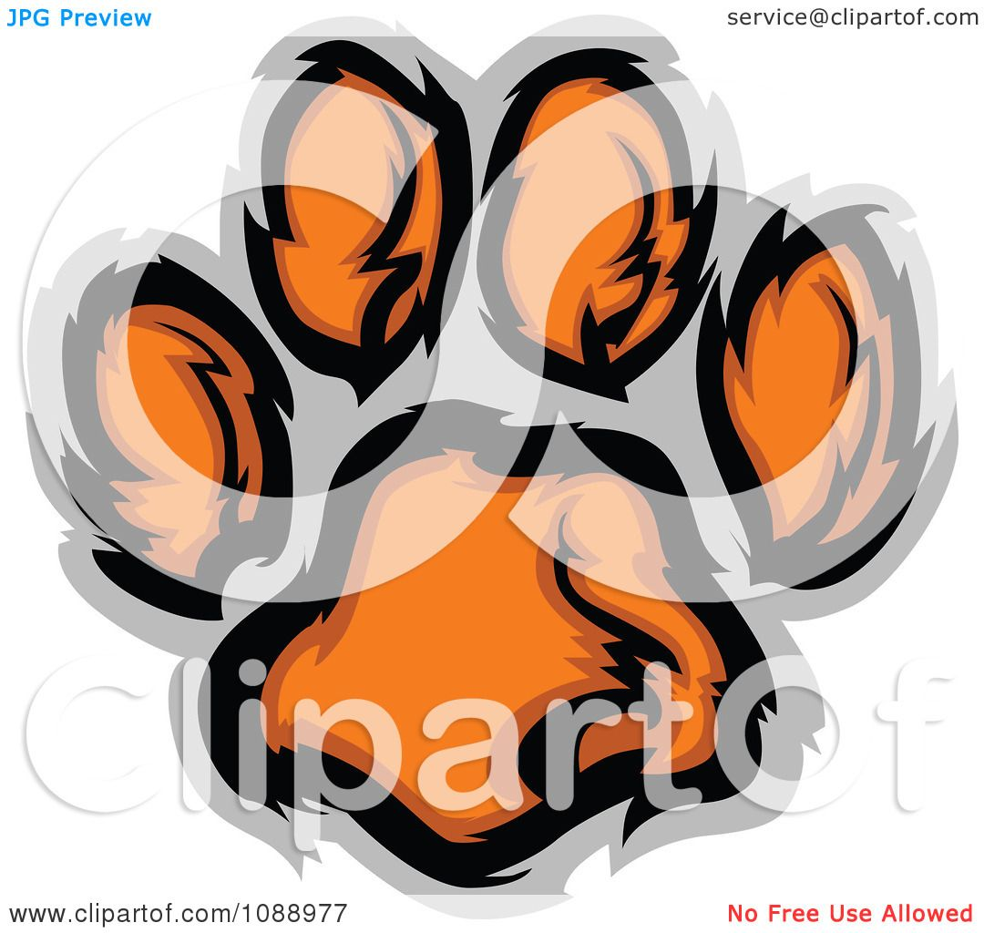 Clipart Tiger Paw Print - Royalty Free Vector Illustration by ...