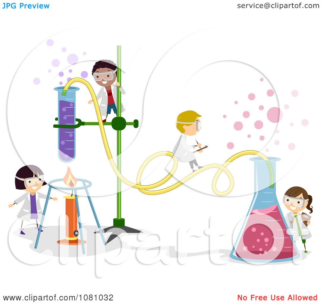 Clipart tiny stick kids working on a chemistry experiment - royalty