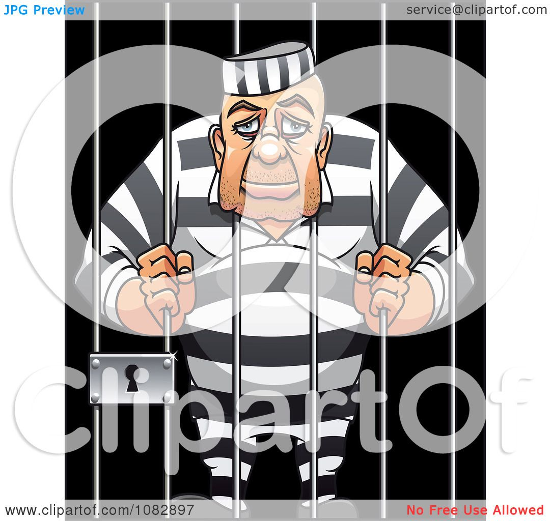clipart tired old prisoner hugging the bars of his jail cell royalty free vector illustration. Black Bedroom Furniture Sets. Home Design Ideas