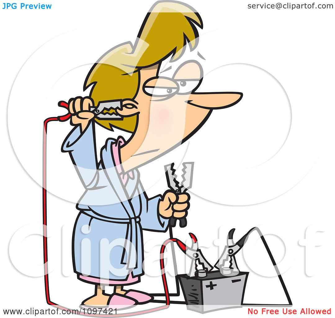 Clipart Tired Woman Trying To Up Her Energy With A Battery