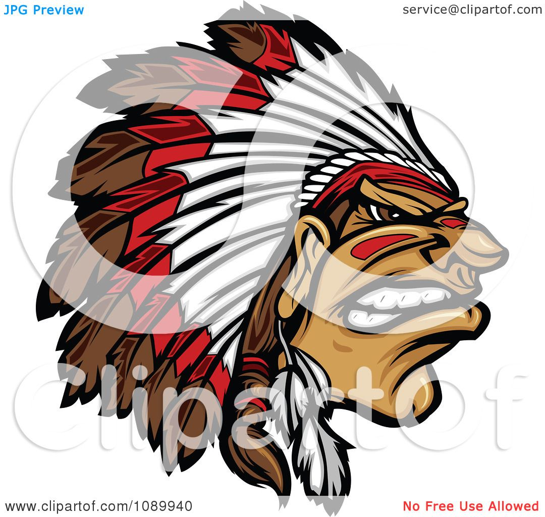 Clipart Tough Native American Chief And Feathered