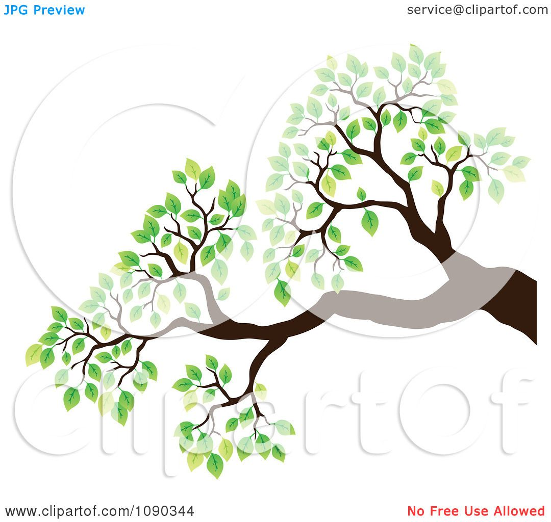 Tree branch with leaves clipart
