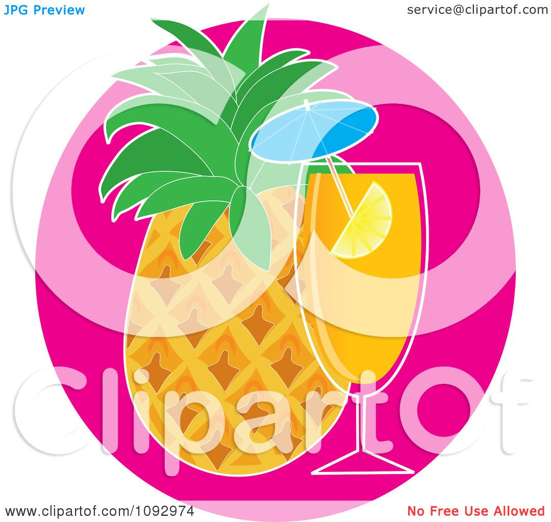 Clipart Tropical Cocktail And Pineapple - Royalty Free ...