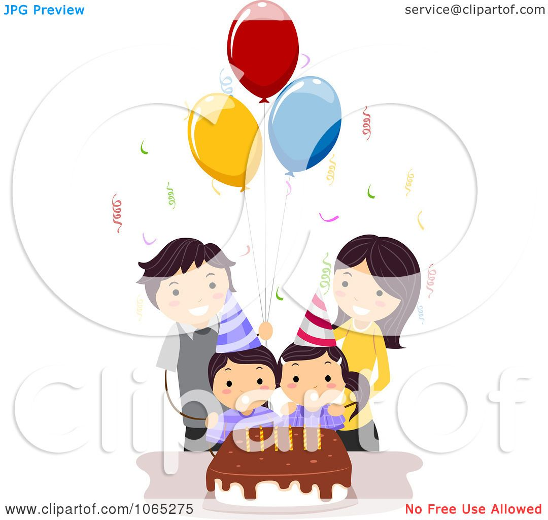 Clipart Twins Celebrating Their Birthday With Their