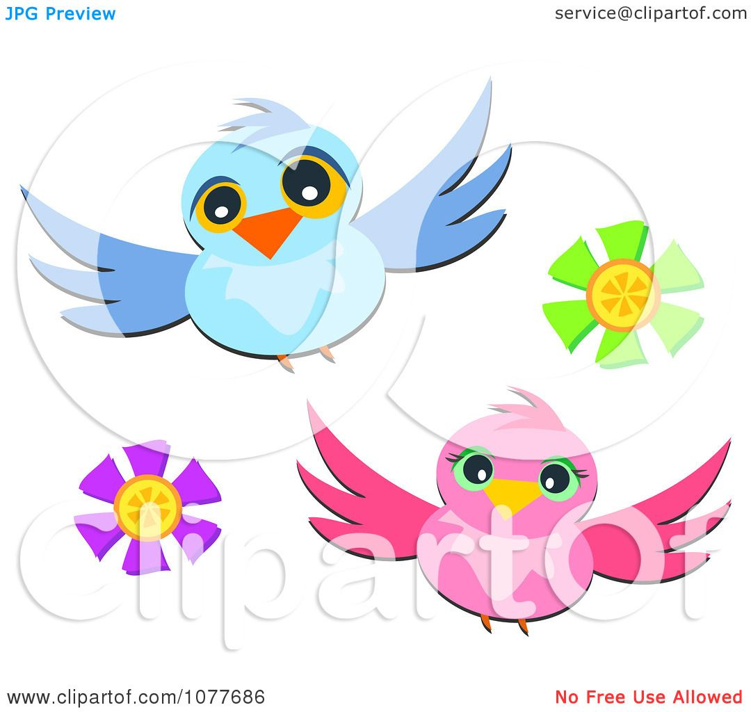 clipart two birds and flowers royalty free vector illustration by bpearth