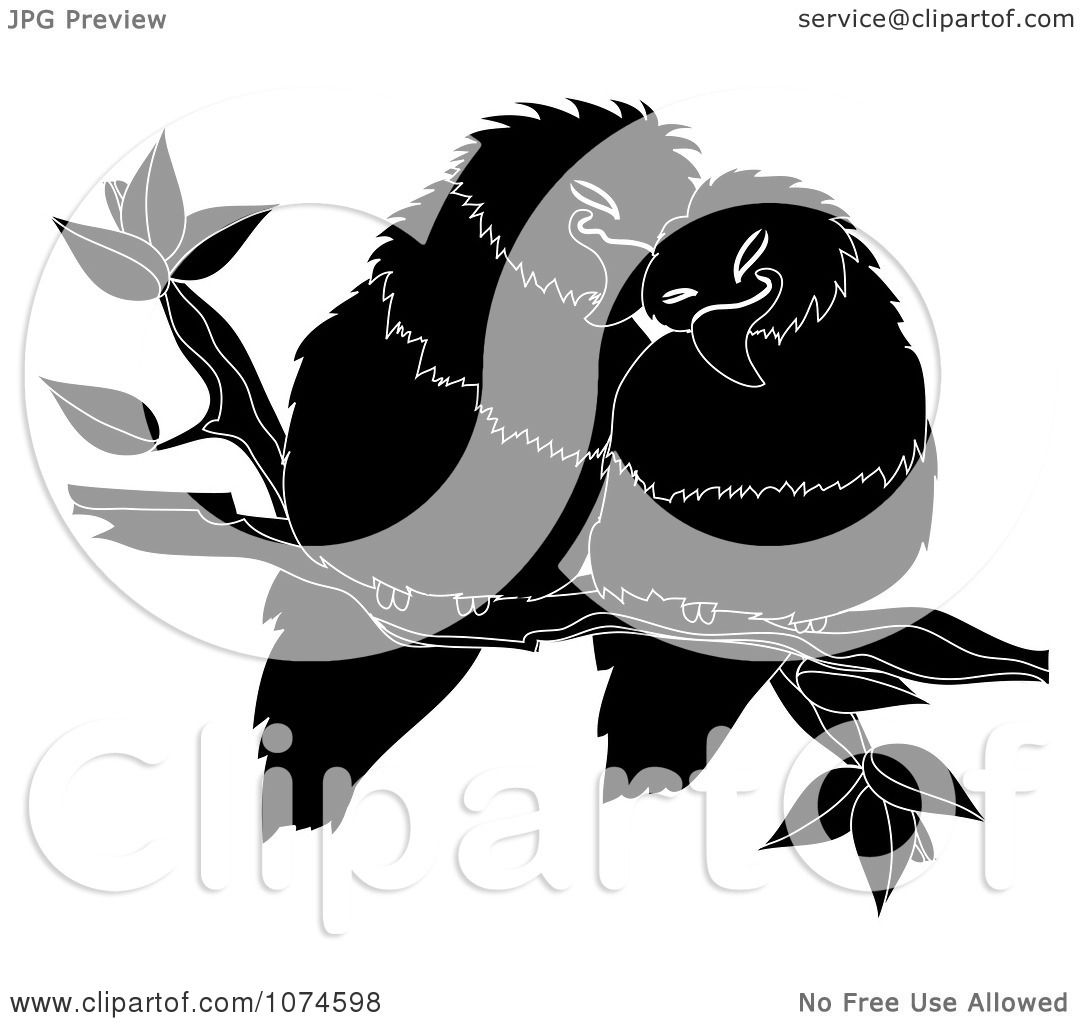 Clipart Two Black And White Love Birds Perched On A Branch Royalty Free Vector Illustration By Pams Clipart 1074598