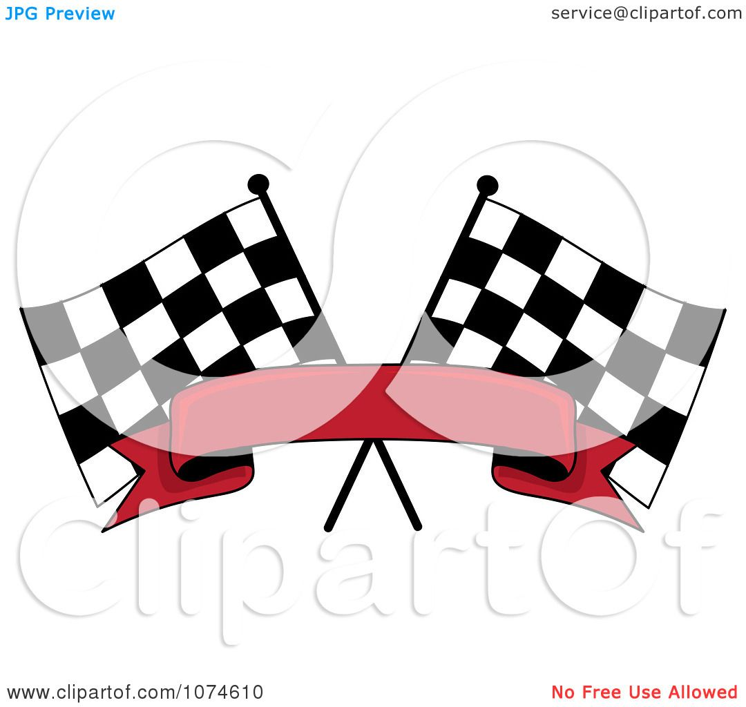 clipart two crossed checkered racing flags and a red banner, Powerpoint templates
