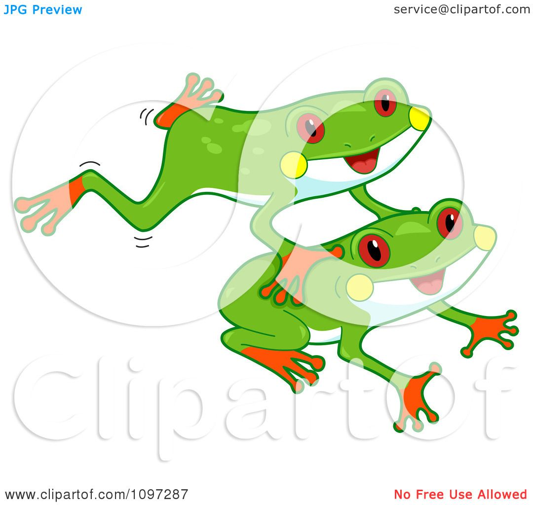 Clipart Two Cute Red Eyed Tree Frogs Leaping - Royalty Free Vector ...