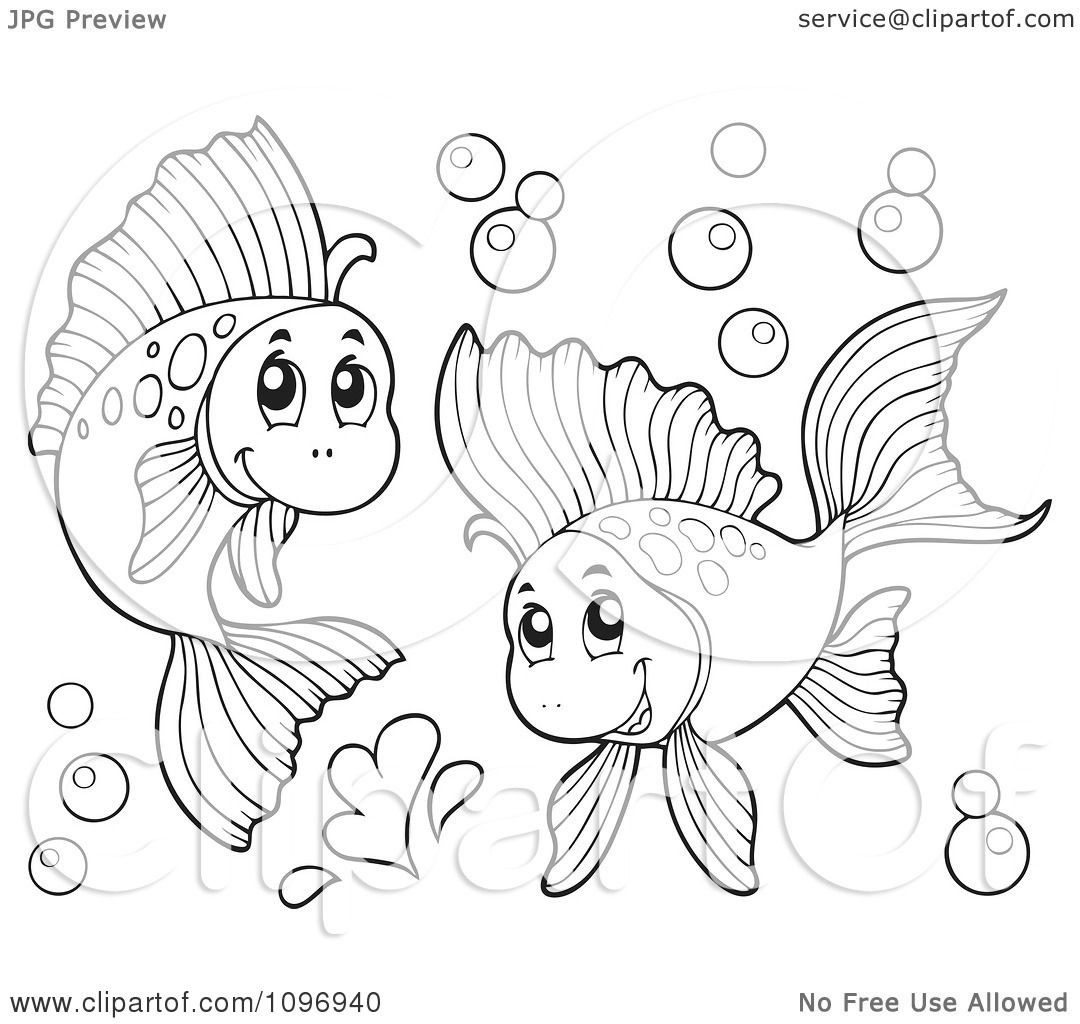 Clipart Two Outlined Happy Fish Playing Underwater ... Underwater Clipart Black And White