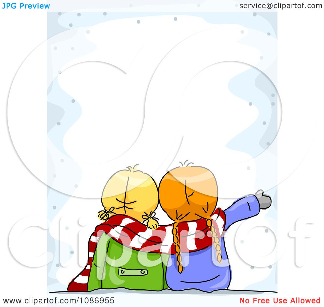 Clipart Two Winter Girls Gazing At The Snow Border - Royalty Free ...