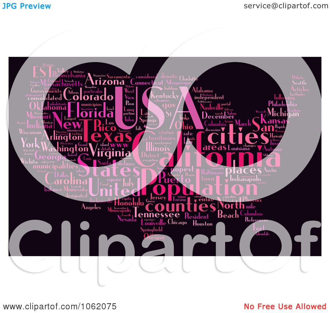 Clipart United States Map Word Collage  Royalty Free - Free united states map graphic