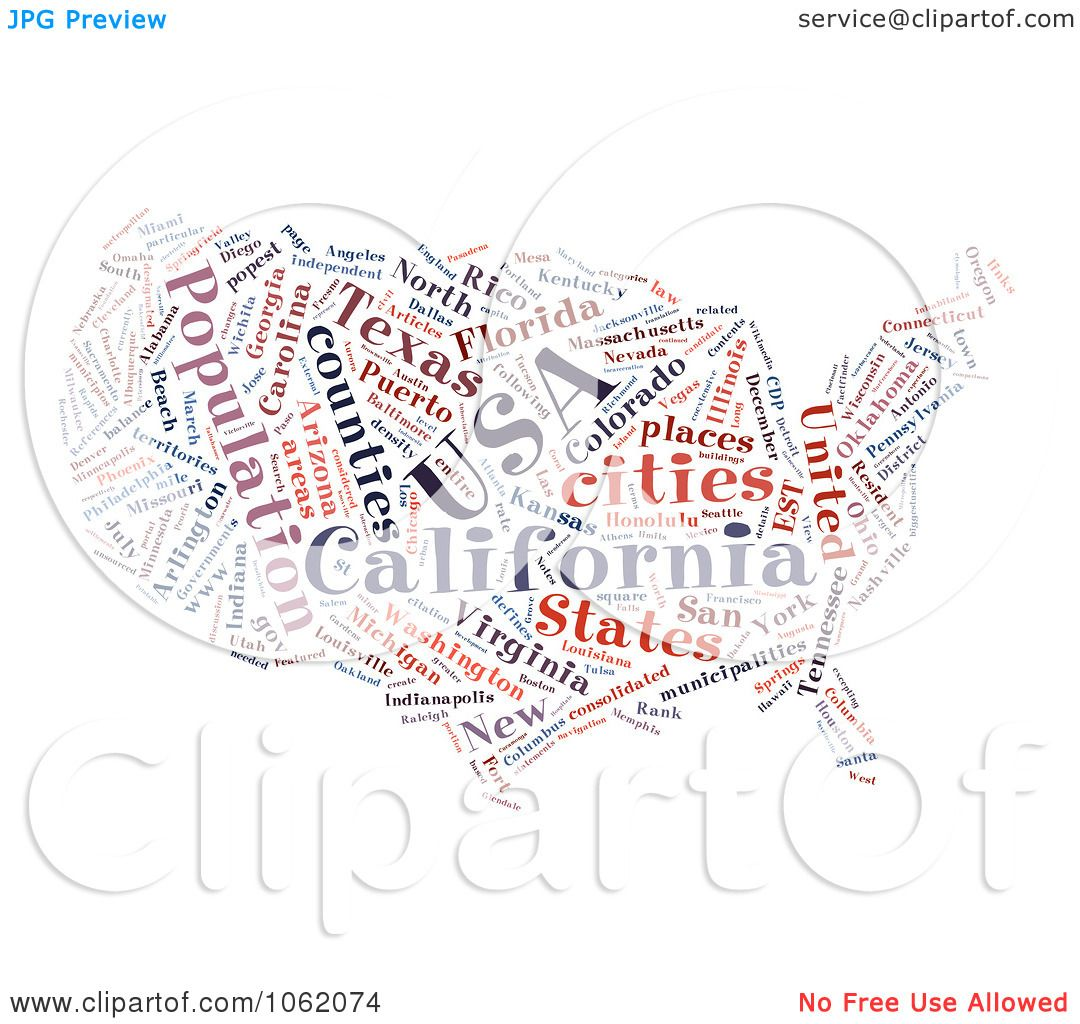 clipart united states map word collage 2 royalty free ilration by macx
